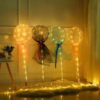 أدى روز بوبو الكرة ضوء بالون مضيئة روز باقة شفافة الكرة فقاعة لعيد الحب هدية الزفاف الديكور GGA3844-4