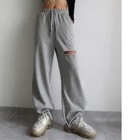 Pantalon Femme Capris Street Trend High Taille Grande jambe Femmes européennes en vrac Torn Casual Harem Mopping Pantalon en coton