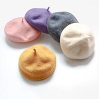 12 Colores Otoño Sur Corea del Sur Niños Baby Hat Hat Beret Pintor británico Brote de tapa de lana pura Carrera coreana Tide Newborn Photography Props