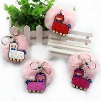 Quente bonito estilos de alpaca rosa bola de pele artificial chave chaveiro bolsa pingente charme chaveiro presentes frete grátis