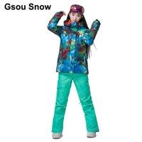 GSOU Снежные Женщины Термальные Красочные Граффити Лыжный костюм Водонепроницаемый Сноуборд Синий Куртка Зимний Теплый Костюм Спорт Полный Костюм 1798-082
