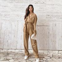 Kadın Tek Parça Tulum Yüksek Bel Sonbahar Tulum Bayan Giyim 2020 Haki Tulum Tulum Pantolon Kadın Cepler Yaka Tulum