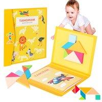 3D de madeira magnética de madeira enigma de madeira jigsaw tangram livro brinquedo jogo de treinamento de pensamento bebê Montessori brinquedos educativos para crianças 201218