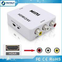 HDMI2AV 1080 P HD Video Adaptörü Mini HD AV Dönüştürücü CVBS + L / R HD RCA Xbox 360 PS3 PC360 Perakende Ambalaj MQ50 Için