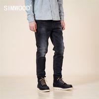 Simwood Sonbahar Kış Yeni Slim Fit Konik Kot Siyah Denim Pantolon Klasik Jean Yüksek Kalite Marka Giyim SJ130915 201128