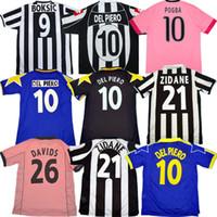 Retro Juve Del Piero Futbol Jersey 84 85 92 95 96 97 98 99 02 03 11 Zidane Antik Maillot Davids En Eski Gömlek