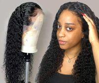 레이스 프론트 인간의 머리 가발 흑인 여성 깊은 파도 곱슬 머리 정면 밥 가발 브라질 아프로 짧은 긴 30 인치 물 발 가득