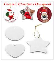 Adorno de cerámica de sublimación en blanco 2021 ornamento de la Navidad de cerámica PERSONALIZADA A ornamentos hechos a mano para el árbol de Navidad Decoración