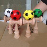 Professional 18 см PU краска деревянные кендама меч мячи футбольный узор умелый жонглирование игры мяч для взрослых детей на открытом воздухе спорт y200428