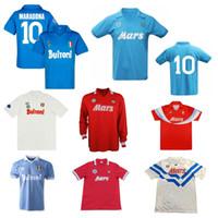 1986 1987 1988 1989 1990 Napoli Retro Soccer Jersey 88 89 Nápoles Maradona Ferrara Careca Vintage Camisa de Futebol Clássico
