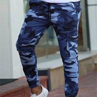 Color Camo Camuflaje Pantalones de carga Hombres Mujeres Casual Streetwear Pockets Jogger Blue Tactical Sweetpants Hip Hop Trauser 201118