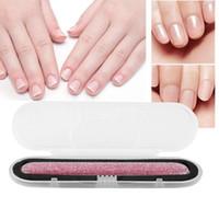 Archivo de uñas de cristal Crystal uñas Shiner Nano Mini Blass Block con estuche portátil para uñas naturales