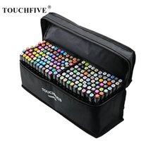 Touchfive Dual Tips Art Эскиз Twin Marker ручки 36 48 72 80 168 Цвета Алкогольные чернильные маркеры для студентов и дизайнера 201120