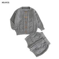 Milancel Fall Baby Boys Boys Одежда вязаные Детские девушки наборы хлопчатобумажные кардиганы шорты 2 шт. Сплошная детская одежда набор LJ201223