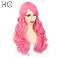 Длинные волны синтетические парики для женщин косплей парик блондинка синий розовый серый фиолетовый Gren оранжевые черные каштановые волосы для хэллоуин