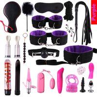 Комплект связки с наручниками Анальный штекер BDSM Dildo Vibrator Fetish BDSM Игры для взрослых для флирта, секс-игрушки для мужчин Женщины Gay Party Y200616