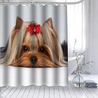 Шунян Йоркширский терьер собака собака занавес полиэстер ткань 12 крючков для ванной комнаты водонепроницаемая плесень застенчивый ванна T200708