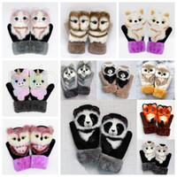 Multicolor Girls Dos Desenhos Animados Luvas de Inverno Destaque Animais Cão Cat Panda Panda Quente Luvas Ao Ar Livre Kids Luvas Bonitos Festa Favor Favor Suprimentos RRA3834