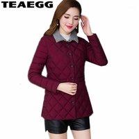 Kadın Aşağı Parkas Teaegg Kadın Ceket Kış Parka Femme Hiver Ince Dış Giyim Bayan Ceketler Sıcak Pamuk Yastıklı Artı Boyutu 4XL 5XL AL14761