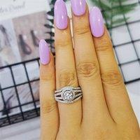 Moonso 925 Ayar Gümüş Yüzük Seti Çifti Band 3 Parça Yüzük Setleri Kadınlar Için Hakiki Düğün Nişan Anillos Anel Aneis R235X 201218