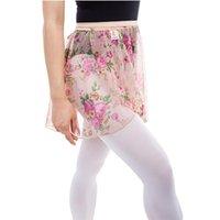 Etapa desgaste vendiendo niñas impresión flores ballet wrap falda mujeres danza adulto spandex gasa vestido de cintura tamaño gratis