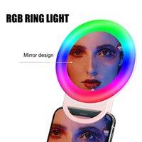 RGB Selfie LED Ring Circle Circle Mini Luzes de Telefone Celular Clipe no Telefone Recarregável Clip-on Makeup Espelho Espelho Encher a luz