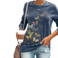 Elegant Butterfly Stampa T-shirt a maniche lunghe da donna Autunno Casual O-Neck Top Fashion Lady Cotton Poliestere Plus Size Blue Tees