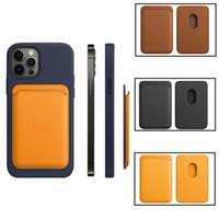 Bolso de la tarjeta de venta caliente para la funda del titular de la tarjeta de la billetera de moda magnética para el iPhone 12 Pro Max 12 mini cubierta de la bolsa de cuero