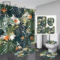 녹색 잎과 꽃 인쇄 샤워 커튼 세트 화장실 폴리 에스터 커버 미끄럼 방지 매트 욕실 뚜껑 카펫 패션 홈 장식 201128
