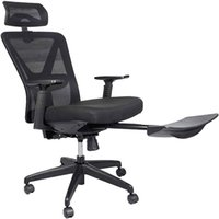 Waco Ergonomic Office Recliner Стул Мебель, Возможна дышащая сетка с высокой спинкой, с скрытыми плюсами, регулируемая подлокотник поясничная опора, подголовник, поворотный - черный
