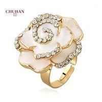 Chuhan Basit Gül Yüzük Kadınlar Için Sevimli Parmak Yüzük Romantik Doğum Günü Hediyesi Kız Arkadaşı Moda Zirkon Taş Takı J141