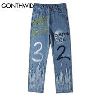 Gonthwid graffiti feu flamme print décontracté baggy jean jeans hip hip hipster streetwear pantalons hommes mode punk rocher pantalon mâle lj201027