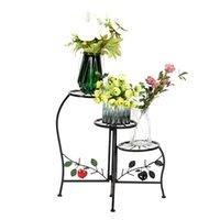 철 금속 공장 랙 꽃 냄비 홀더 페인트 칠한 모양 3 블록 금속 공장 스탠드 실내 옥외 검정 무료 배송