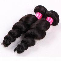 Elibess Brazilian Virgin Pein Bundles 4pcs Lot 100g PCS 6A El cabello humano sin procesar teje el pelo de onda suelta con color natural