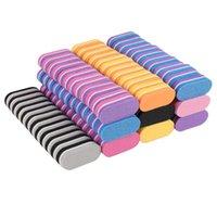 200pcs / lot mini file à ongles 100/180 Mélanger tampon coloré tampon de tampon professionnel des ongles de meulage soins manucure outils de manucure