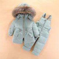 OLEKID Kış Bebek Snowsuit Kapüşonlu Erkek Bebek Aşağı Ceket Kaban Sıcak Tulum Giyim Seti 1-4 Yıl Çocuklar Toddler Kız Tulum 201127