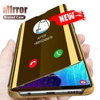 Smart Mirror Flip Case for Samsung Galaxy A50 A51 A70 A71 A30 A10 A10 A40 ملاحظة 20 8 9 10 S10 S9 S8 S20 زائد S10E S7 حافة الغلاف