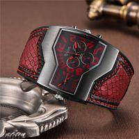 Oulm Style classico Due fuso orario orologi da uomo in pelle PU in pelle orologio da polso maschile orologio al quarzo Casual Man Ore Relogio Masculino 201215