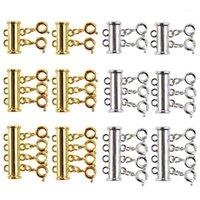 Juldekorationer 12 stycken där storlek halsband Skjut magnetiska rörlås Clasps Guld- och silverpläterade kontakter för skiktat armband