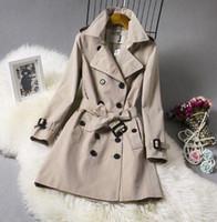 Hot Sale Women Fashion England Middle Long Trench Coat Toppkvalitet Dubbelbröst London Classic Overcoat Storlek S-XXL