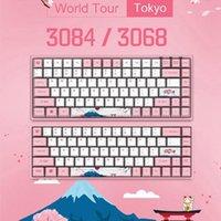 Keyboards Original AKKO 3068/3084 Sakura Mechanische Gaming-Tastatur 68/84 Tasten PBT Computer Gamer Typ-C Pink Blau Orange Switch1