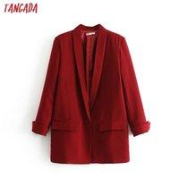 Tangada Fashion Red Black Blazer Frau Langarm Kutsche Kragen Mantel Elegante Damenarbeit Lässige Marke DA17 201114