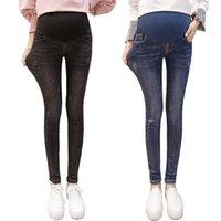 Nuevas mujeres embarazadas Estómago Levantamiento Pantalones Maternos Afuera Leggings Elásticos Primavera Otoño Invierno Moda Jeans Cintura Alta Pantalones