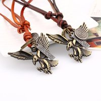 Newest Unisex Cool Genuine leather Necklace Zinc Alloy Eagle Pendant For Biker Cool Gift P55