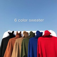 Men's Sweaters 2021 Winter Long Sleeve Wool Male Solid Color Loose Turtleneck Fashion Pullover Homme Cashmere Knitting M-2XL