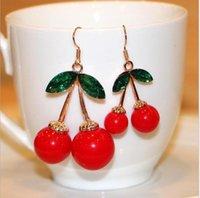 Frusen körsbärs dangle örhängen härlig röd frukt öron stud kristall rhinestone mode charm örhängen 1584