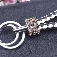 ¡Barato! Llavero de cristal de diamantes de imitación de doble bucle creativo 2018 nuevo llavero llavero monedero bolso mochila colgante 16 colores
