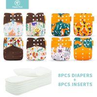 HappyFlute 8 pañales + 8 inserciones Pañales de tela para bebés Un tamaño de tela reutilizable lavable ajustable Nappy para niñas y niños LJ201023