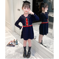 Chidlren Herbstkleid Mädchen Prinzessin Kleider Kinder Gestrickte Pullover Kleider Kinder Modernes langes Ärmel Solide Farbe Kleid Röcke