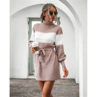Women Lantern Sleeve Knitting Sweater Dress Fashion Trend Lo...
